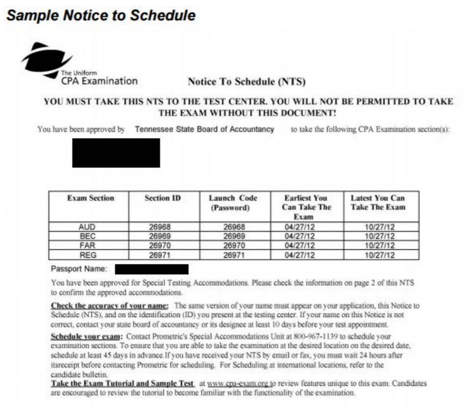 Notice To Schedule CPA Exam